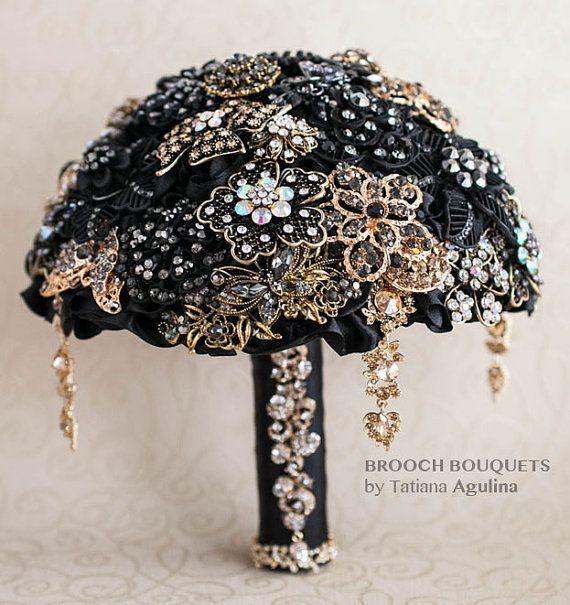Brosche-Blumenstrauß. Schwarz und Gold Brosche Hochzeitsstrauß, Jeweled Bouquet. Machte auf Anfrage