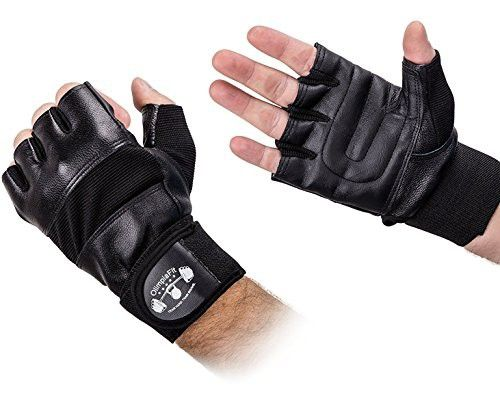 Size L Gym Gloves for Men with Wrist Support - Best for WeightLifting, Workouts, Crossfit, Pullups, Powerlifting, Fitness, Cross Training - Reinforced Leather Palm - Best Weight Lifting Gloves