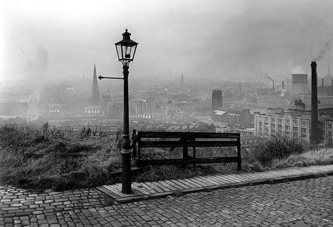 Hilltop panorama of Halifax, West Yorkshire, 1957