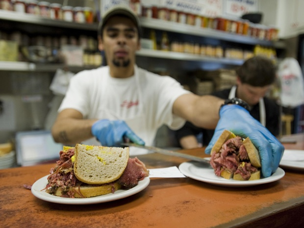 Smoked Meat sandwich at Schwartz's, a Montreal icon.