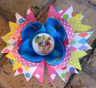 Disney Teacups Alice in Wonderland Mat Hatter Custom Boutique Hair Bow for Disney World Vacation
