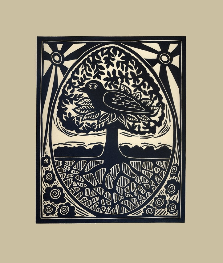 Bird, Tree and Egg original linocut.