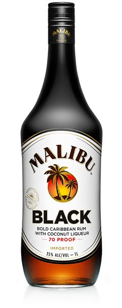 MALIBU® Black  MALIBU BLACK combines the smooth coconut flavor that you love with higher proof and less sweetness for a bolder taste of the Caribbean. Try it straight up as a Malibu Black Bite. #signaturecocktail
