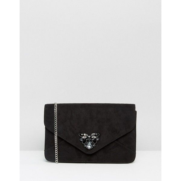 Carvela Clutch Bag With Jewel Embellishment (3.610 RUB) ❤ liked on Polyvore featuring bags, handbags, clutches, black, jewel purse, embellished handbags, jeweled handbags, jeweled purse and embellished purses