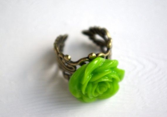 Sale  Grande Lime Green Rose Ring by piecesofaprilmel on Etsy, $9.00