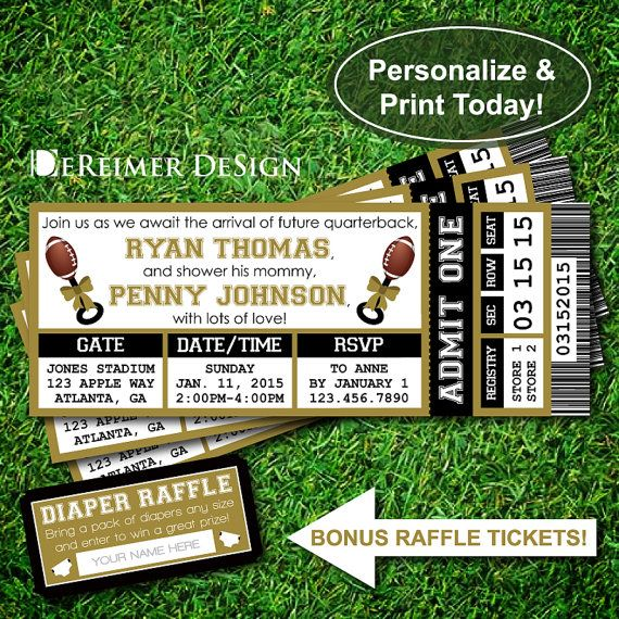 Sports Ticket Baby Boy Shower Invitation, Saints, New Orleans, Football, Gold and Black, Instant Download, DIY +BONUS Diaper Raffle Tickets by DeReimer DeSign. Only $12!