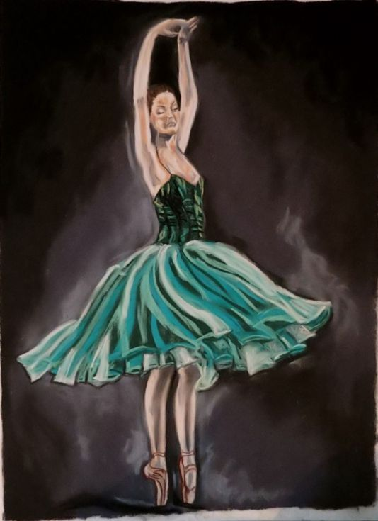 Buy Ballerina light, Pastel drawing by Anna  Sasim on Artfinder. Discover original art for sale, paintings, prints and photography from independent artists. #dancer #ballet Soft pastel art on Pastelmat paper, woman drawing, woman painting..
