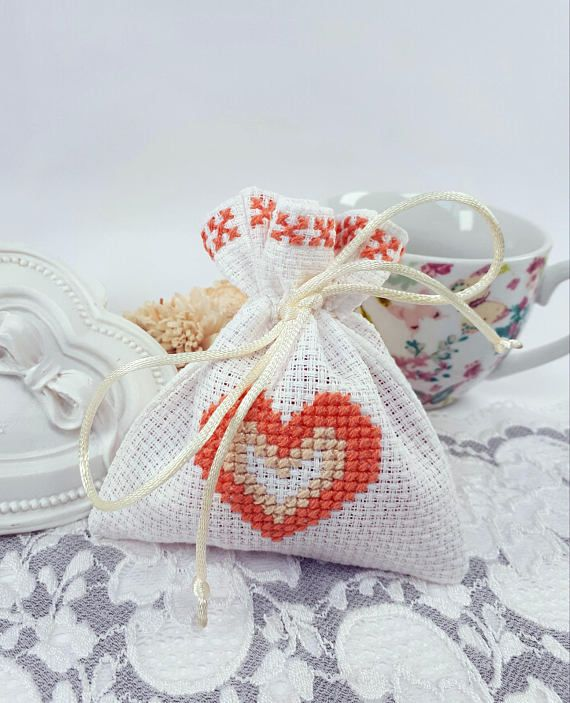 Cross stitch gift bag white fabric jewelry pouch white