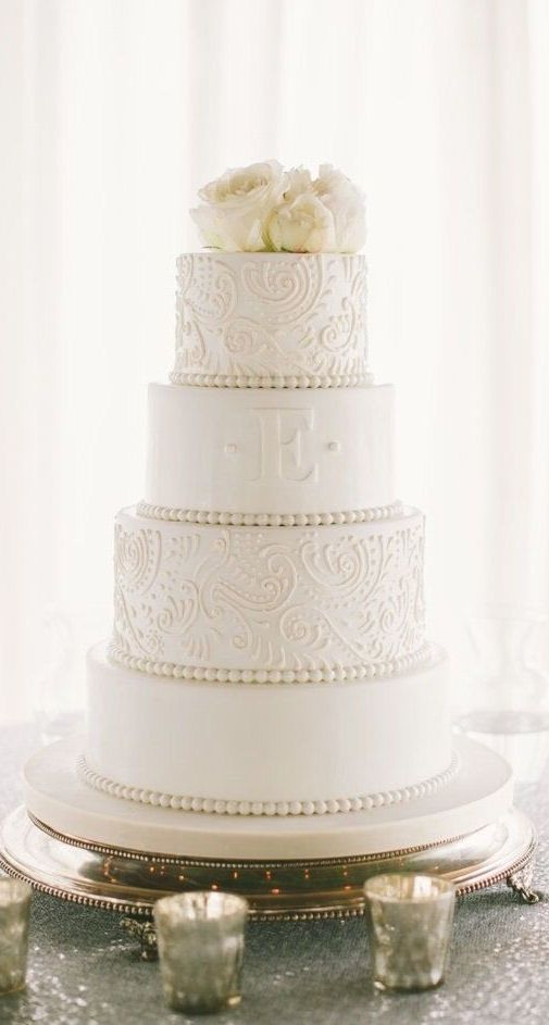 Elegant Monogram Wedding Cake ❤ #wedding #cake #inspiration