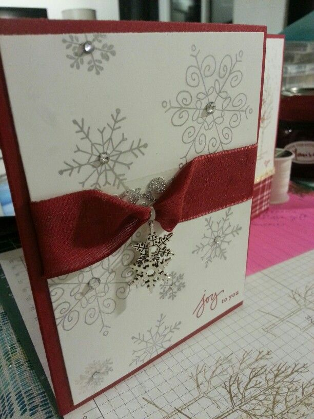 Endless wishes. Cherry cobbler. Ribbon. Snowflake embellishment. Stampin up.