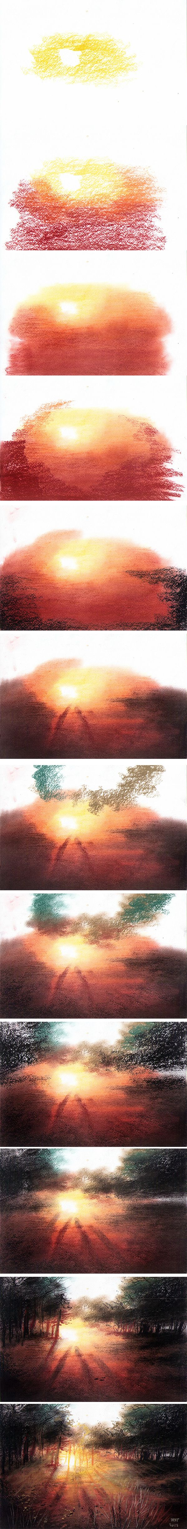 Blending pastels step by step sunset pastel painting.