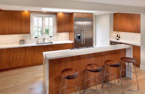 Split Level Waterfall Island Countertop Kitchens