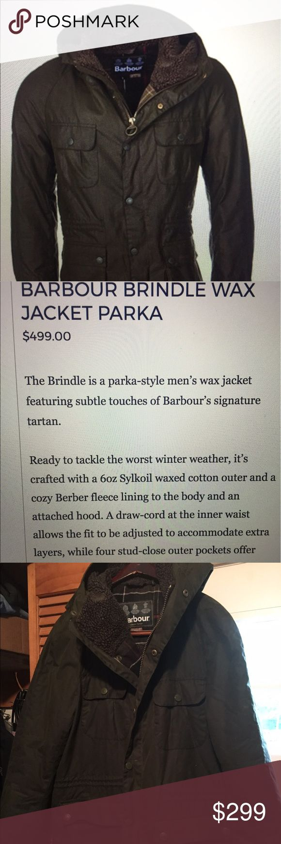 Barbour brindle wax parka jacket Men's size L Authentic Barbour brindle wax parka jacket Men's size L, retails $499, waxed cotton field jacket with fleece lining with tartan plaid accents. Two front snap pockets with front zip and snap button closure, hood lined with fleece Barbour Jackets & Coats Military & Field