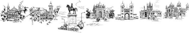 Ma.Se's (Maniam Selvan) sketches of the city that was. Connemara Library; Victoria Public Hall; Statue of Munro, National Art Gallery, Amir Mahal, Chepauk Palace and Senate House.