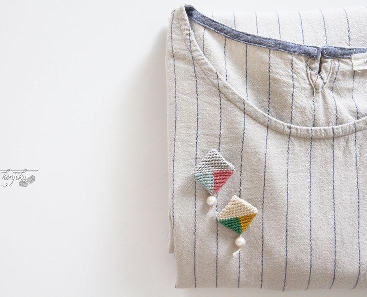 diamond crochet brooch with cotton pearl embelishment by KenjikuMade on Etsy