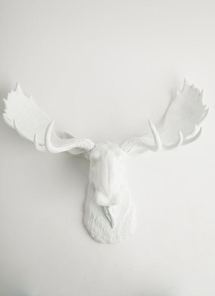 The Edmonton - White Resin Moose Head- Moose Resin White Faux Taxidermy- Chic & Trendy. $119.99, via Etsy.