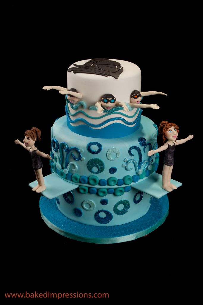 Swimming/Diving Team Cake by Baked Impressions