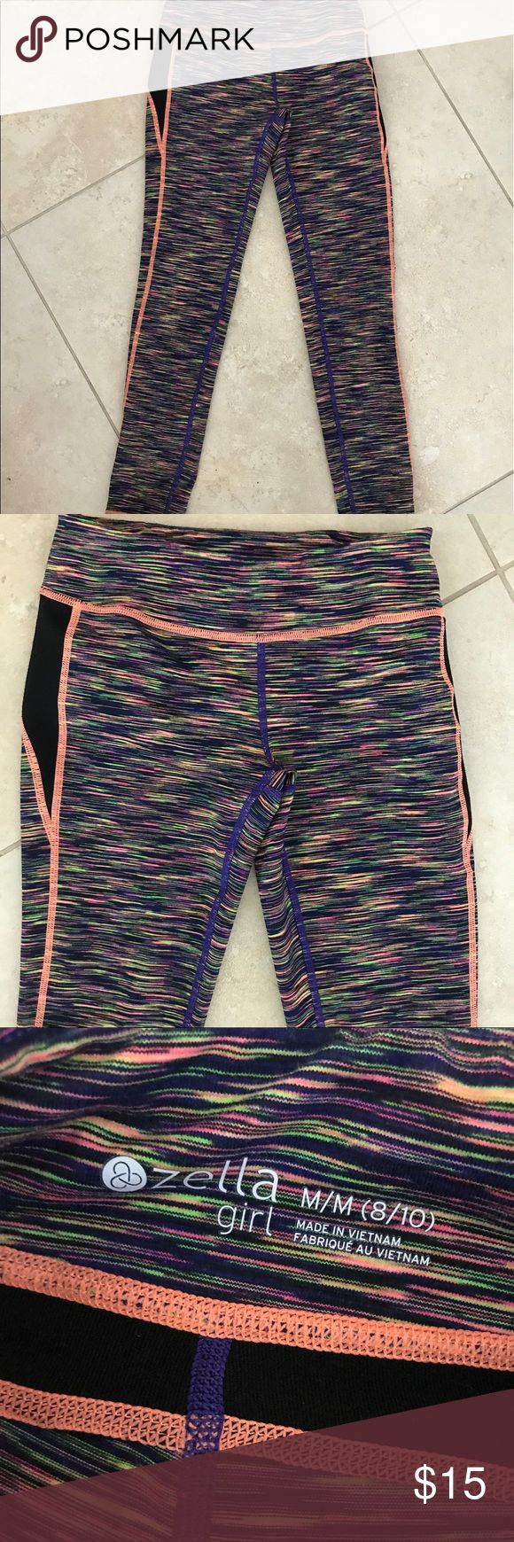 Zella girl spandex athletic yoga pants leggings Zella girl spandex athletic pants from Nordstroms girls 8/10 super cute, comfy and bright ! Little zipper pocket in back! Bundle and save - excellent condition Zella Girl Pants