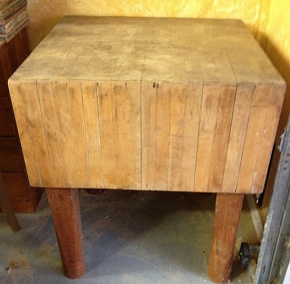 Make Offer Antique Solid Wood Butcher Block By Blackhorsefarm1 499 95