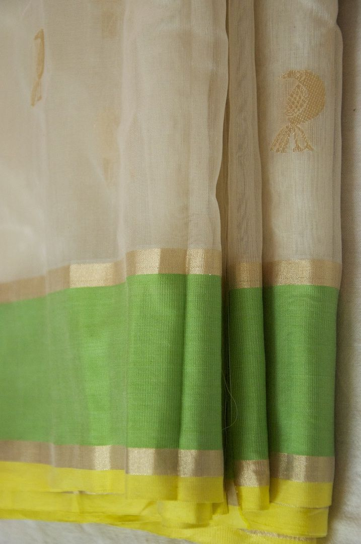 Handwoven silk-cotton Chanderi saree, hand-picked from weavers by Omnah.