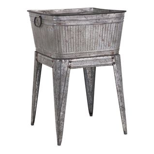 Benzara - Adorable Perryman Galvanized Tub on Stand - Ice Tools And Buckets