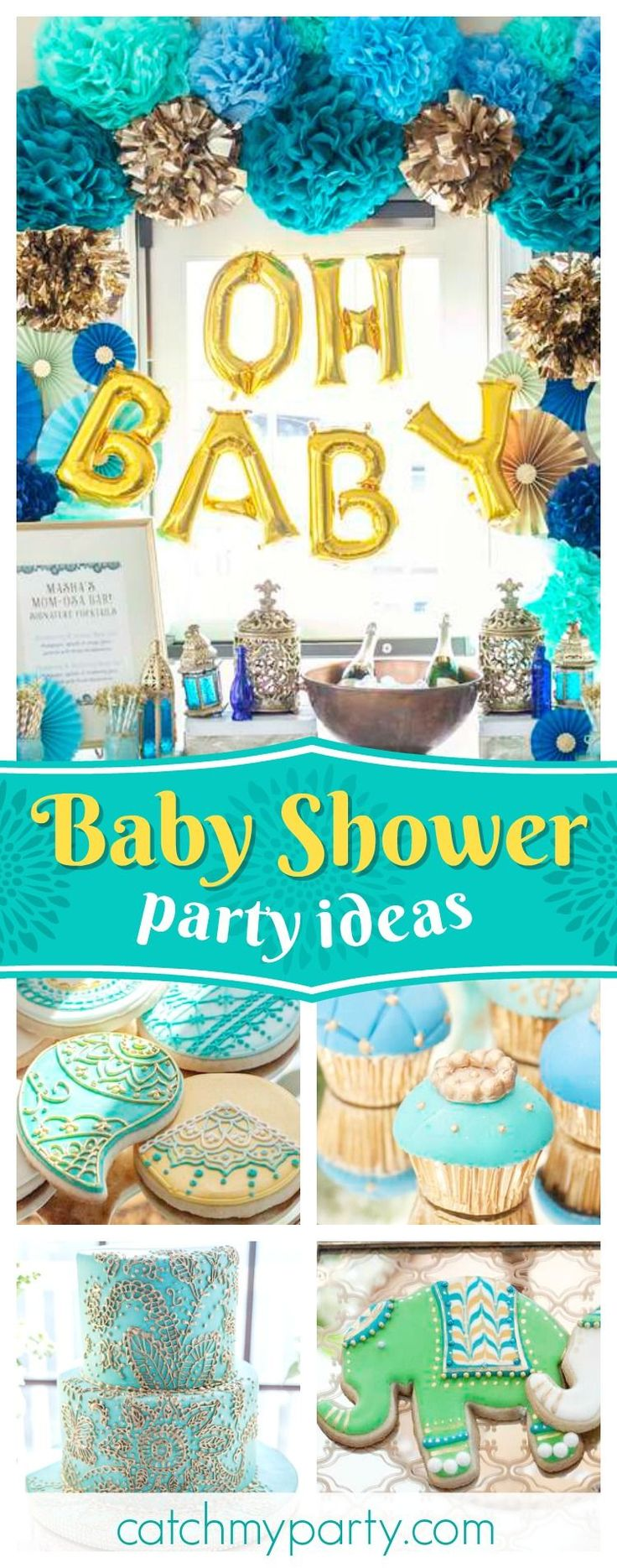 Be inspired by this stunning Blue Indian Baby Shower! The decorated cookies are gorgeous!! See more party ideas and share yours at CatchMyParty.com #partyideas #catchmyparty #indian #babyshower