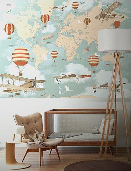 Little Hands Wallpaper Mural - World Map Travel II