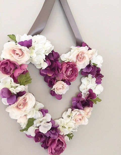 DIY Faux Flower Heart. Simple Valentine's Day Decor that is easy to make!