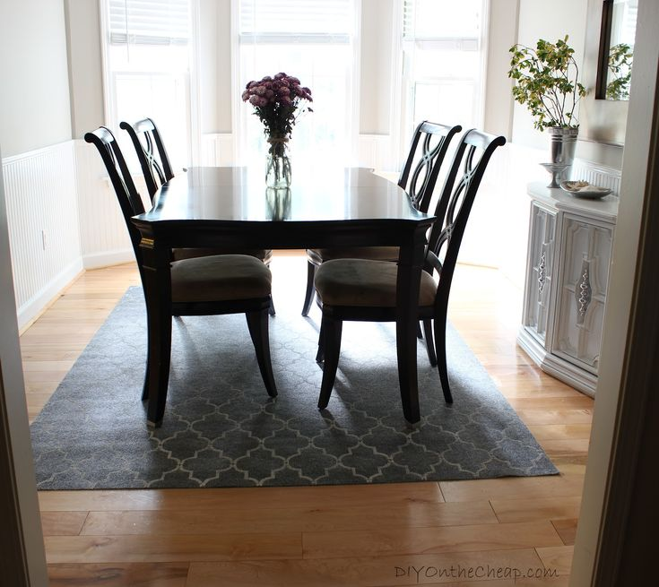 Dining Room Elegance Rugs Designed With Black Wooden Furniture And Grey Rug