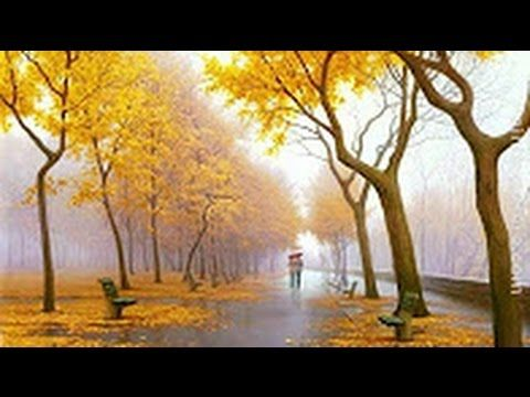 """Misty park"" Paint landscape with easy painting technique Palette knife painting with oil or acrylic - YouTube"