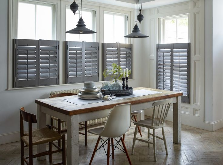Interior Design. Divine Modern Shutters For Windows Inspiration With Dark Grey Accentuate Combine Pale White Window Panels Blended With Vintage Dining Set Ideas. Absorbing Modern Shutters For Windows Treatment