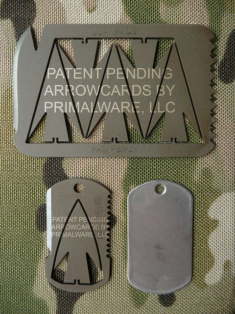 Arrowcards, now that is cool instant arrowheads, just snap off and fix to an arrow, probably pretty lightweight also.