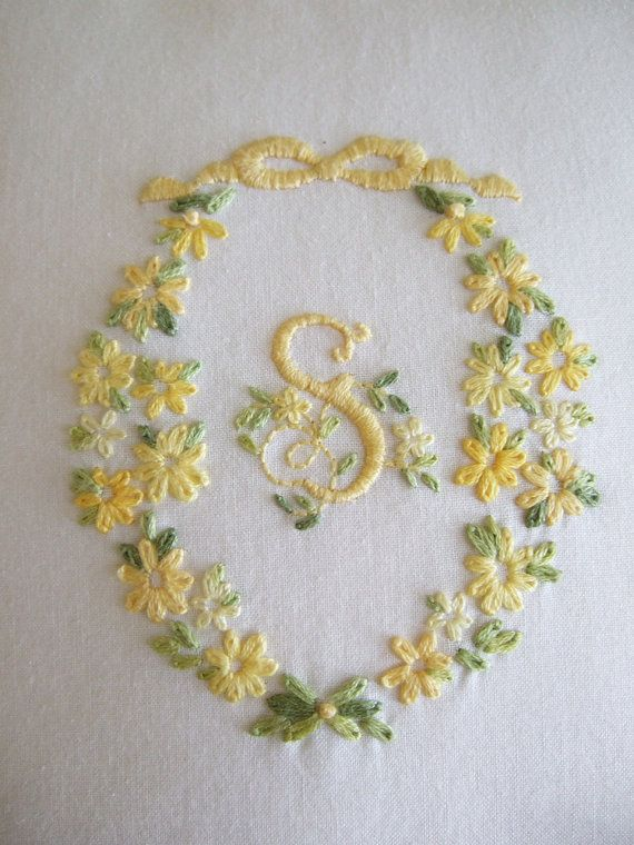 Yellow monogramed letter S hand embroidered by CabinDecorDesigns, $85.00