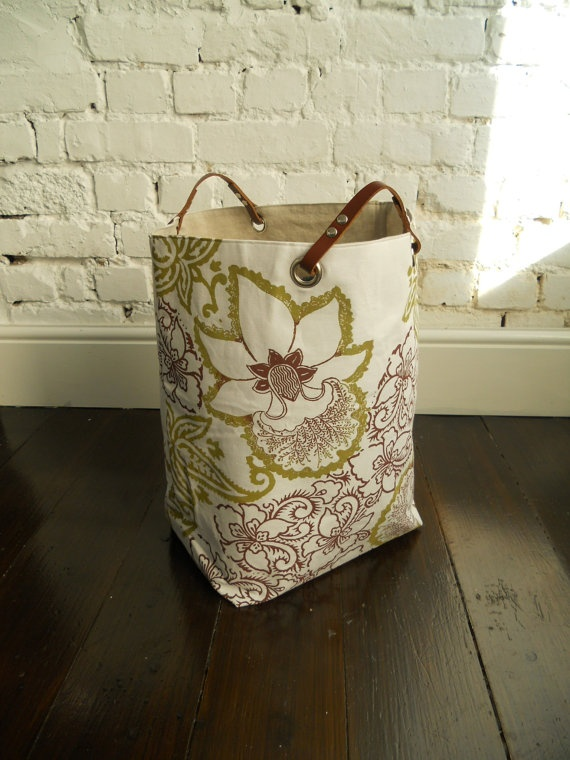 Large Hamper hand block printed with leather by papatotoro, $90.00