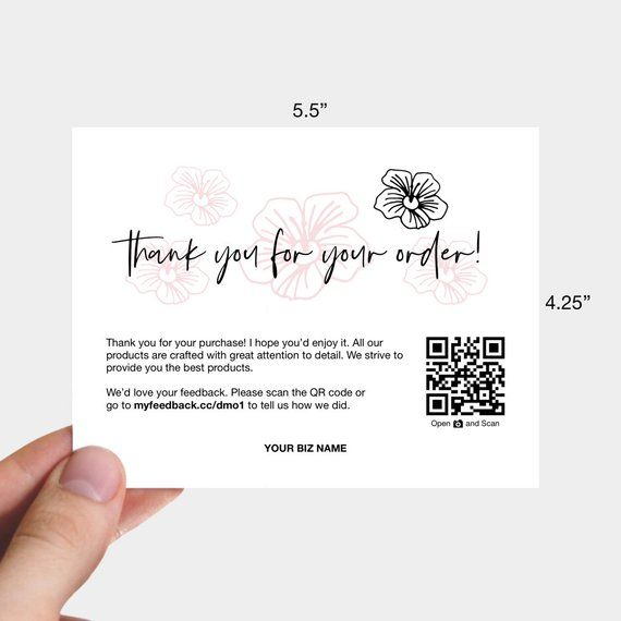 Printable Thank You For Your Order Cards Business Thank You Cards Packaging Inserts Perfect For Small Business Etsy Sellers Business Thank You Cards Business Thank You Thank You Card Design