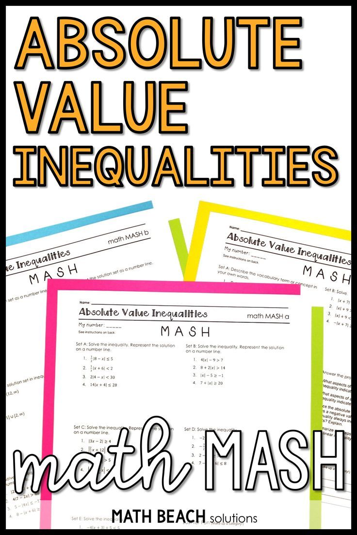 Absolute Value Inequalities Math MASH Activity Algebra