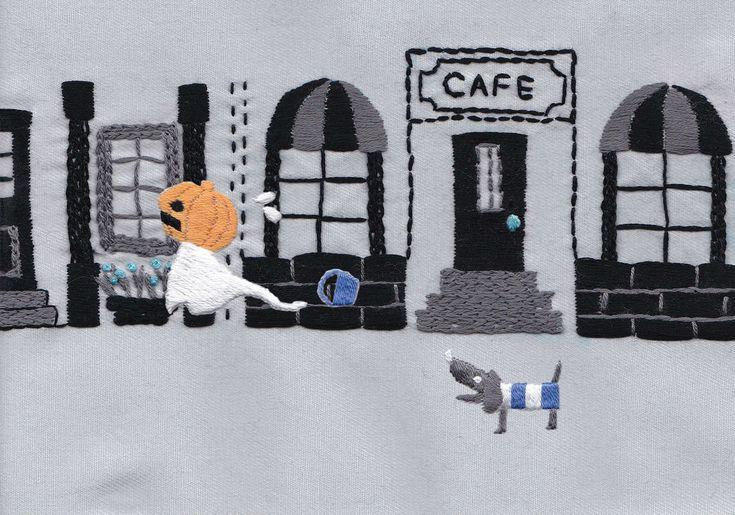 『カレンダーストーリーズ』ウラ10月 「はじめてのハロウィン」      【刺しゅう絵本】作:annas/丘本さちを|ケシュ ハモニウム|note