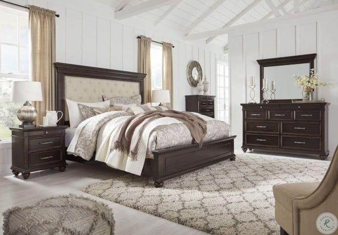 Brynhurst Dark Brown King Upholstered Panel Bed In 2021 Brown Furniture Bedroom Ashley Bedroom Furniture Sets King Size Bedroom Sets