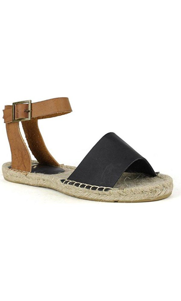 Fahrenheit Leann-01 Women's Strappy Buckle Espadrille Flat Sandals Black-6.5 Best Price