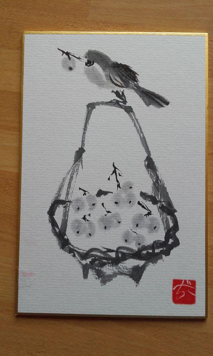Uccellino su cesto d'uva - Sumi-e