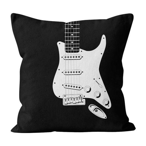 Almofada PillowShow coleção Minimalist Rock, Guitarra Strato Stratocaster, 45 x 45 cm, frente e verso. #pillowshow #almofada #minimalista #rock #guitarra #strato #stratocaster
