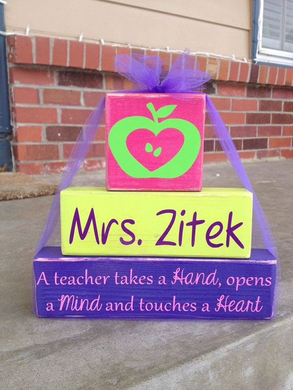 Personalized teacher principal appreciation teacher's aide wood block set stacker takes hand opens mind touches heart end of year gift