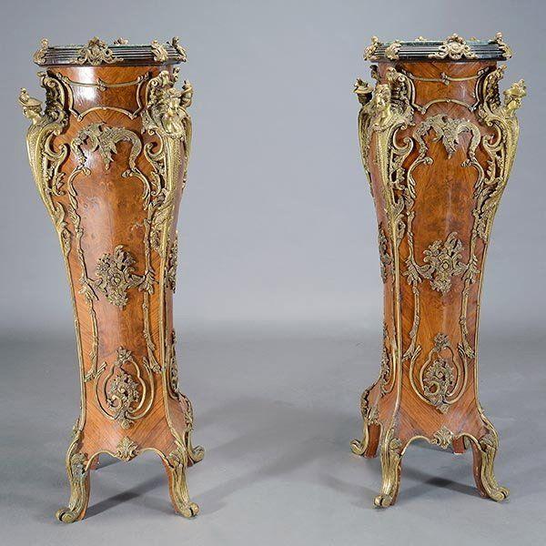 Pair of Louis XV Style Veneered Pedestals
