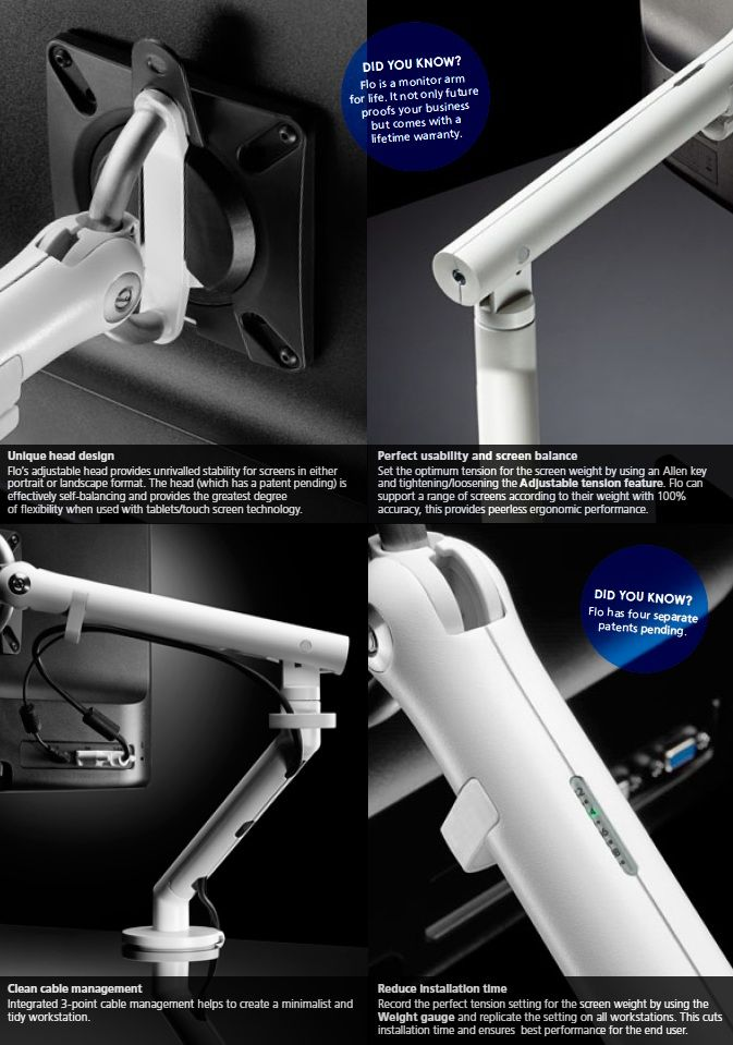 Flo Monitor Arm - Product Page: http://www.genesys-uk.com/Ergonomic-Products/Monitor-Arms/Flo-Monitor-Arm-Flo-Monitor-Mount.Html  Genesys Office Furniture - Home Page: http://www.genesys-uk.com  The unique design of the Flo Monitor Arm offers a range and ease of movement that sets it apart from all other monitor arms.
