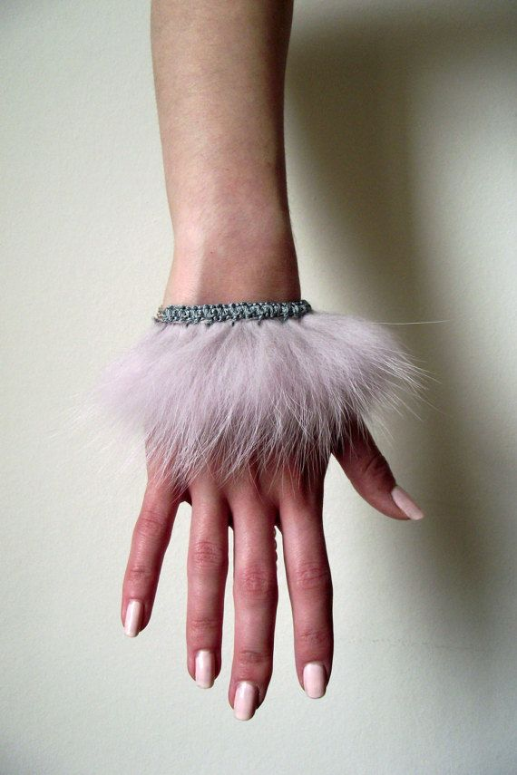 Fur Bracelet in Pale Pink by Edaisytdesign on Etsy