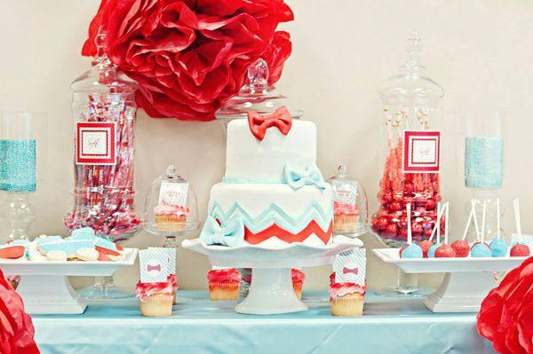Bow Tie Baby Shower Boy Girl Kids First Birthday Red Aqua