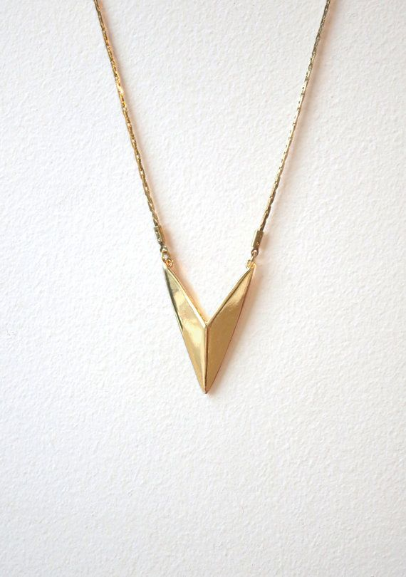 Chevron Pendant Necklace by RoughHouseStudio on Etsy