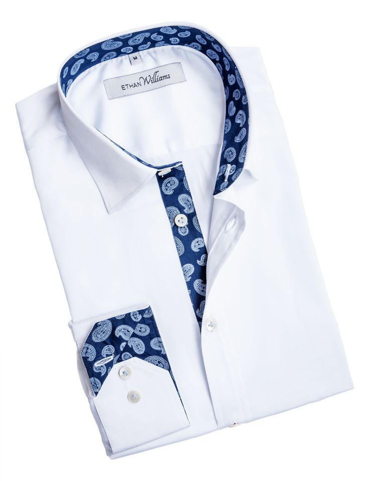 Ethan Williams White dress shirt for men with Navy Paisley liner - Andrea