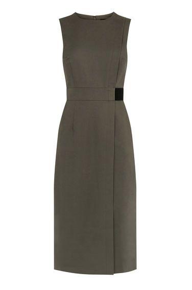 Warehouse, COMPACT COTTON DRESS Khaki 0