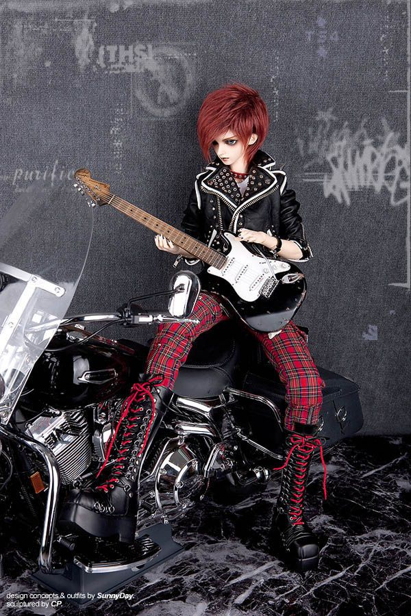 FairyLand Ball Jointed Doll punk rocker. I love this guy!  I love the bike!